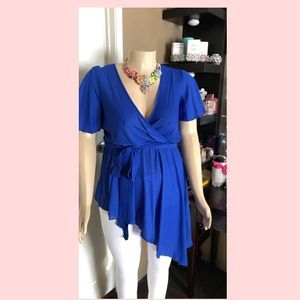 Plus size Royal Blue asymmetrical womens blouse